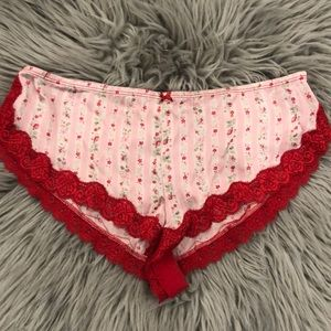 Rampage silky lace pink red lingerie booty shorts